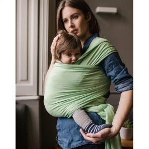 wrap elastic din bambus pentru purtarea bebeluilor boba nile green