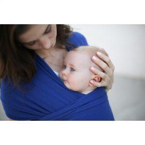 wrap elastic din bambus pentru purtarea bebelusilor boba dark blue 1