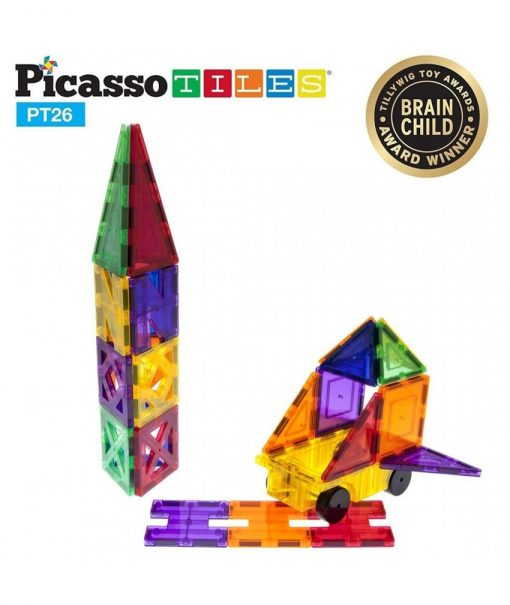 set magnetic de constructie picassotiles 26 piese magnetice joaca creativa imaginatie copii 850x1008