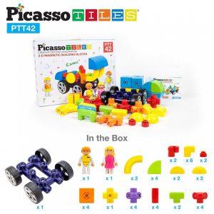 set magnetic constructie cuburi blocuri picasso tiles 42 masina9 850x1008