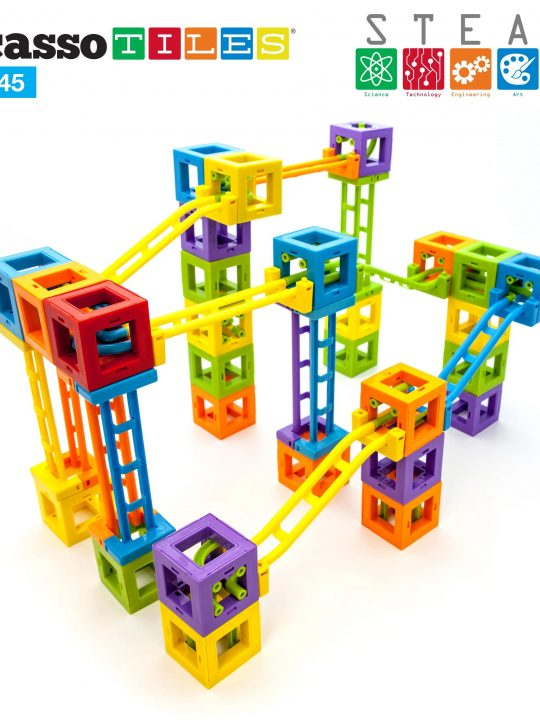 Set PicassoTiles Roller Coaster 45 blocuri magnetice 3D de construcție 2