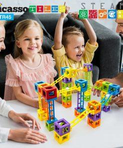 Set PicassoTiles Roller Coaster 45 blocuri magnetice 3D de construcție