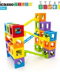 Set PicassoTiles Roller Coaster 45 blocuri magnetice 3D de construcție 5