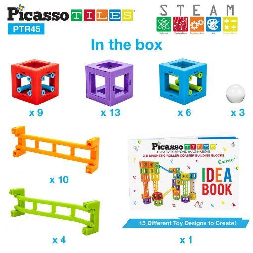 Set PicassoTiles Roller Coaster 45 blocuri magnetice 3D de construcție 6