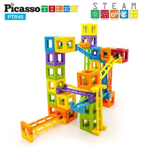 Set PicassoTiles Roller Coaster 45 blocuri magnetice 3D de construcție4