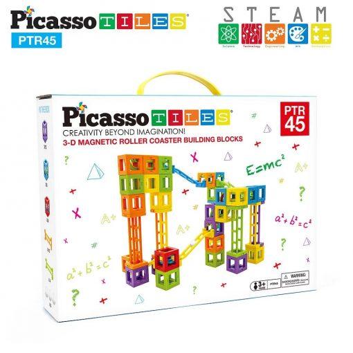 Set PicassoTiles Roller Coaster 45 blocuri magnetice 3D de construcție6