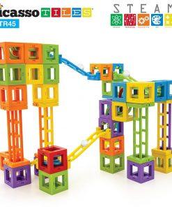 Set PicassoTiles Roller Coaster 45 blocuri magnetice 3D de construcție7